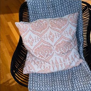 Pink and White Throw / Decorative Pillow